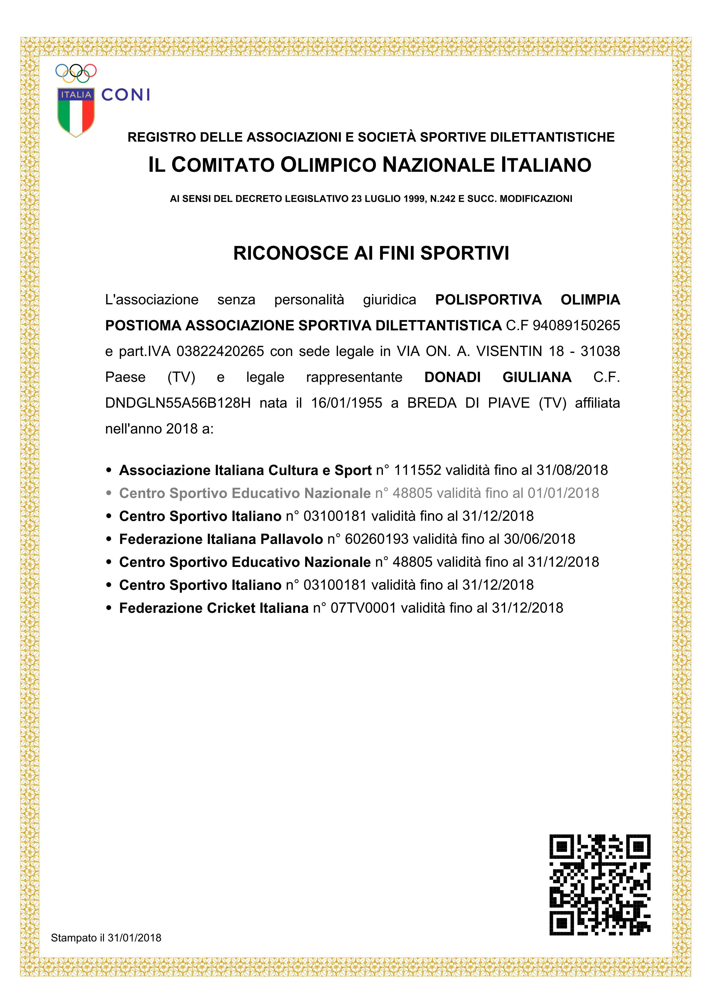 certificato affiliazioni